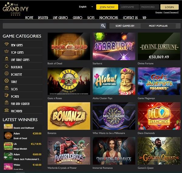 Grand Ivy Casino free play games
