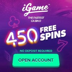 iGame Casino | 450 free spins NDB + 150 gratis spins + €1000 bonus