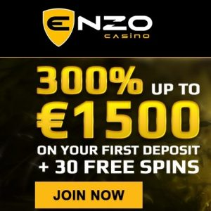 Enzo Casino - bonus code for €1500 free chips and 30 free spins