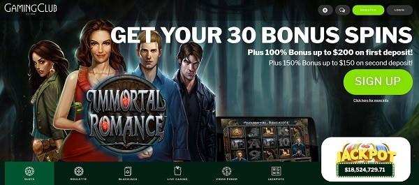GamingClub.com free spins bonus