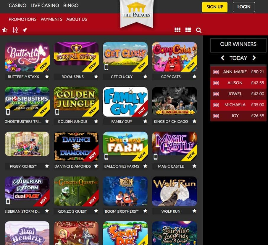 ThePalaces.com Casino, Bingo, Live Dealer