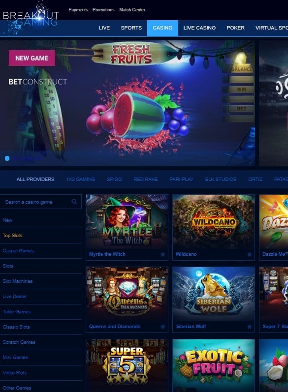 Breakout Gaming Casino Online Slots