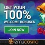EmuCasino.com 100% bonus & 12 no deposit free spins on pokies
