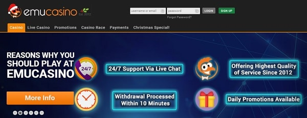 Register at EMU and get 12 free spins no deposit required!