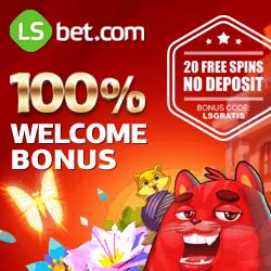 LSbet Casino 20 free spins gratis + 300 USD free bonus money