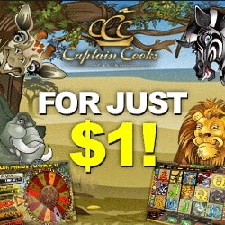 Captain Cooks Casino 100 free spins & €525 bonus - Big Jackpots!