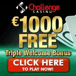 Challenge Casino 100 free spins and $1,000 free bonus credits