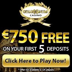 Colosseum Casino 100 free spins and $750 free play bonus