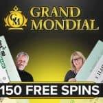 Grand Mondial Casino - 150 free spins bonus on Mega Moolah jackpot