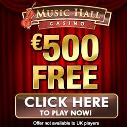 Music Hall Casino $500 free bonus and 100 exclusive free spins