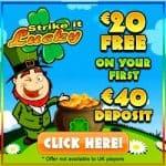 Strike It Lucky Casino - 20 free spins plus 100% free bonus
