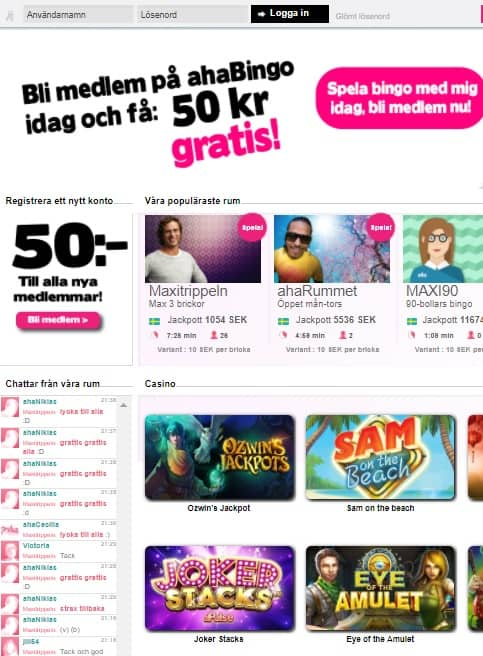 Aha Bingo Casino free spins bonus