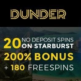Dunder.com Casino 20 gratis spins + 200% free bonus + 180 free spins