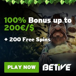 Betive Casino 200 free spins and €1000 bonus for new players