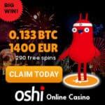 Oshi Casino - best crypto currency casino - 290 free spins & 1400€ bonus