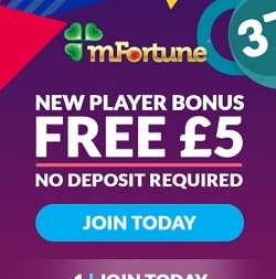 mFortune Casino (mfortune.co.uk) - £5 free bonus for mobile games