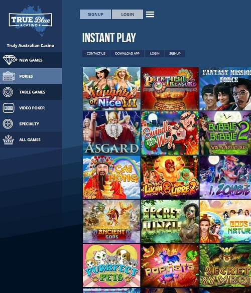 True Blue Casino free bonus codes