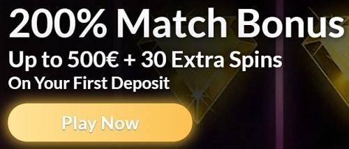 200% bonus & 30 free spins on sign up