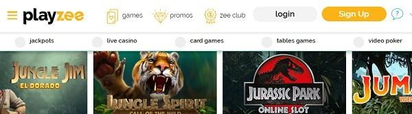Playzee Casino slots, table games, live dealer, video poker, jackpots