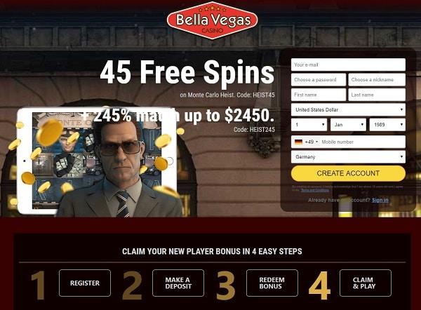 45 Free Spins no deposit bonus (promo code: HEIST45)