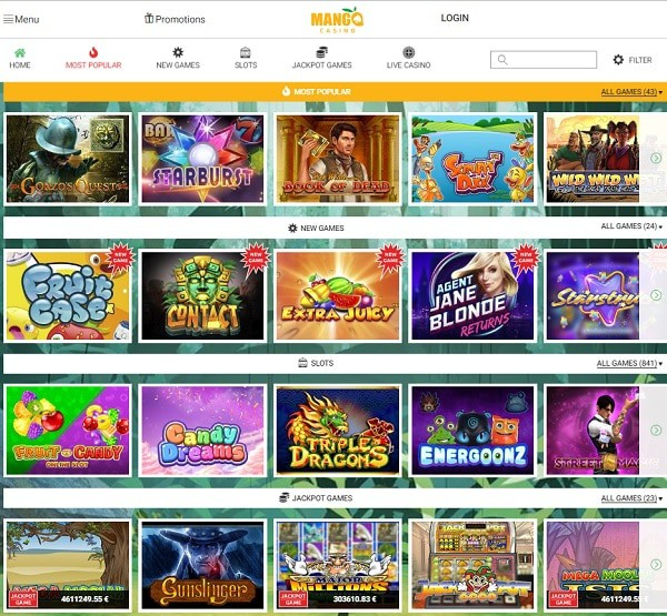 Mango Casino games
