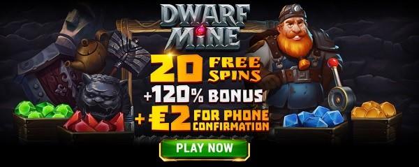 20 Free Spins + 2 EUR gratis + 120% bonus after deposit