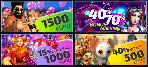 1500 EUR welcome bonus + 40% and 70% Bonus Machine + 15% cashback + 40% reload bonus
