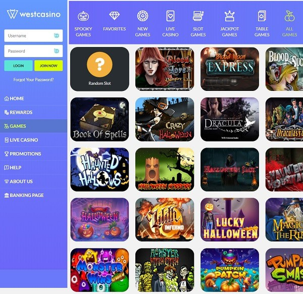 WestCasino Online and Mobile