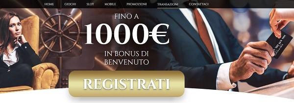 1.000 EUR di bonus di benvenuto e 100 giri gratuiti su slot machine!