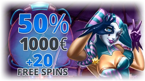 1,000 EUR and 20 free spins in bonuses