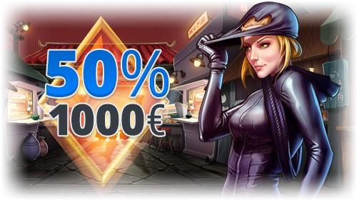 50%, 100% welcome bonus