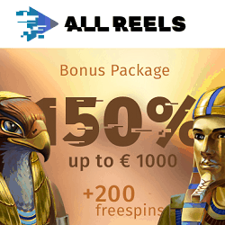 150% up to 1000 EUR and 200 Free Spins at AllReels.com