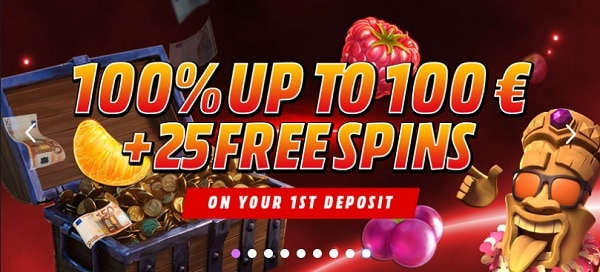 100% bonus and 25 free spins on NetEnt Games