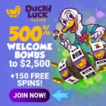 DuckyLuck.ag Casino 150 free spins and $2500 free bonus