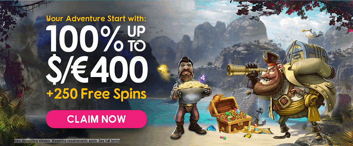 100% welcome bonus and 250 free spins