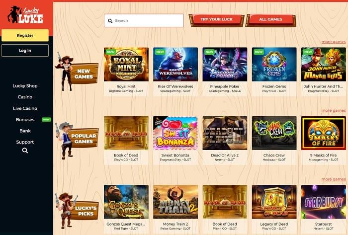 Lucky Luke Casino Homepage