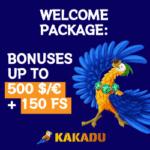 Kakadu Casino 150 free spins and 500 EUR welcome bonus